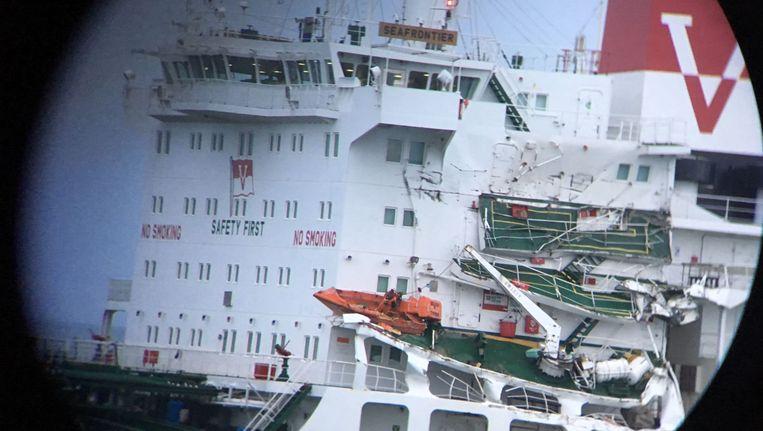 Schade aan de tanker 'Seafrontier'.