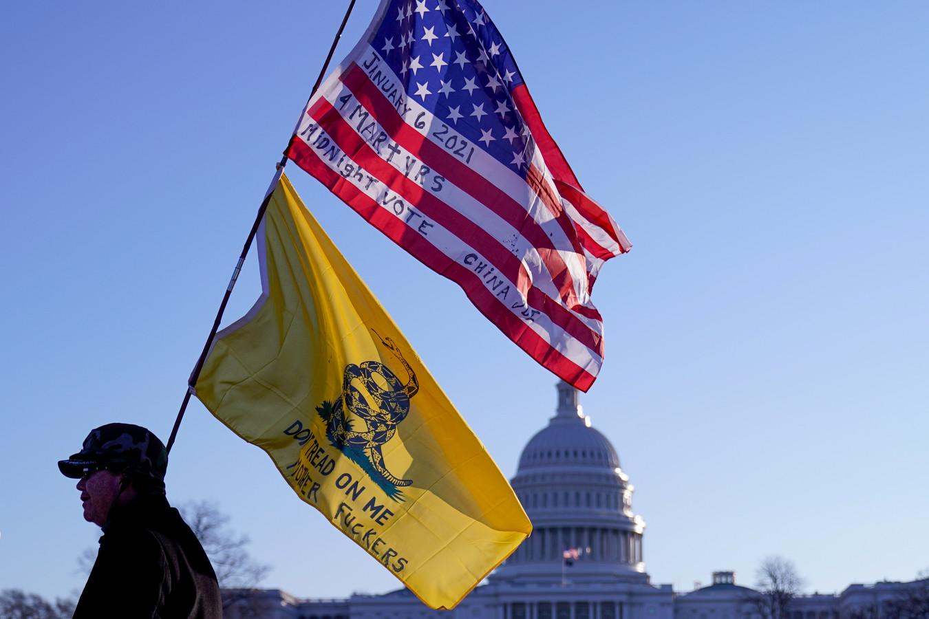 Een man met de Gadsden-vlag bij het Capitool in Washington.