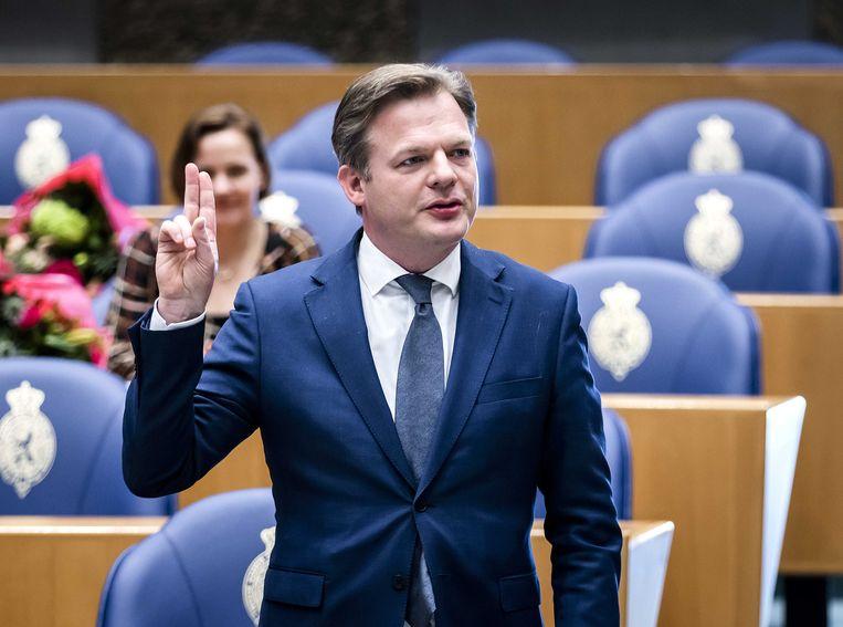 Pieter Omtzigt tijdens de beëdiging als lid van de Tweede Kamer. Beeld ANP