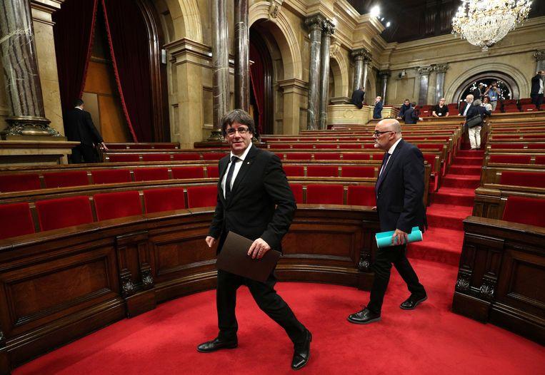 Catalaans minister-president Carles Puigdemont stelde zich onverwacht terughoudend op. Beeld REUTERS