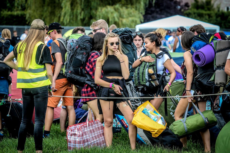 Sfeerbeeld van de Pukkelpop-camping in 2017.  Beeld Photo News