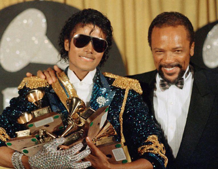 Quincy Jones met Michael Jackson na de Grammy's in 1984. Beeld AP