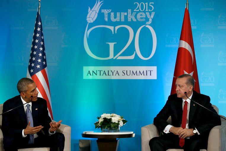Obama en Erdogan in 2015 op de G20. Beeld REUTERS