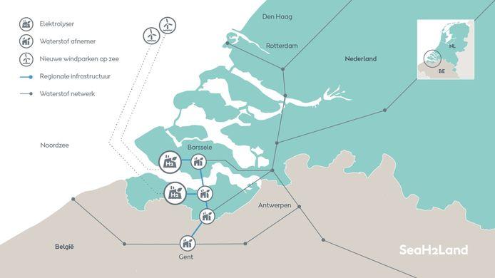 Impressie van een waterstofketen in Zeeland.