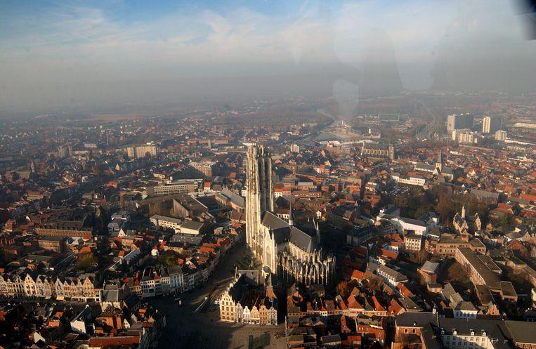 Mechelen gezien vanuit de lucht.