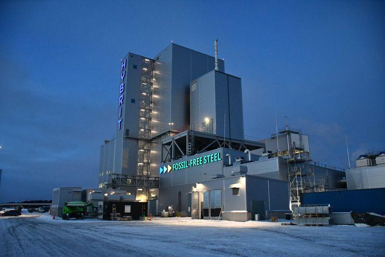 De Hybrit-proeffabriek in Lulea, waarin de Zweden met fossielvrij waterstofgas ijzer produceren voor de staalindustrie. Beeld