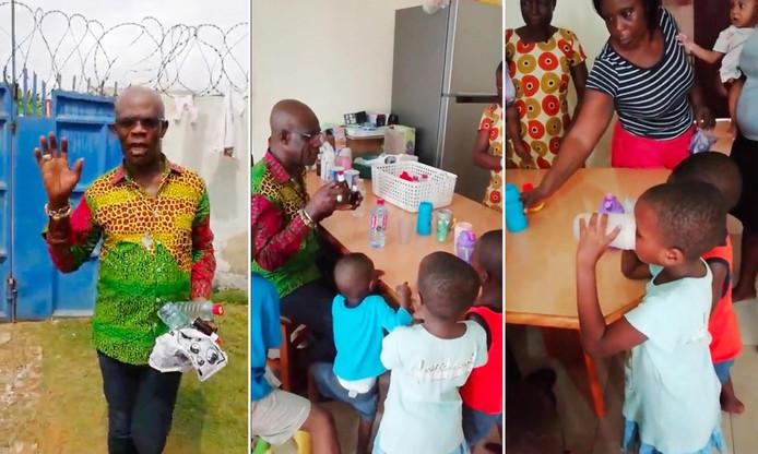 Beelden uit het filmpje van Stephen Oduro in een weeshuis in Ghana, eind 2018, waar hij MMS bereidt en verstrekt aan de kinderen.