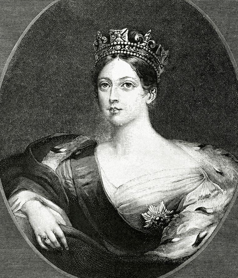 Koningin Victoria (1819-1901) op een gravure uit 1888.  Beeld Getty