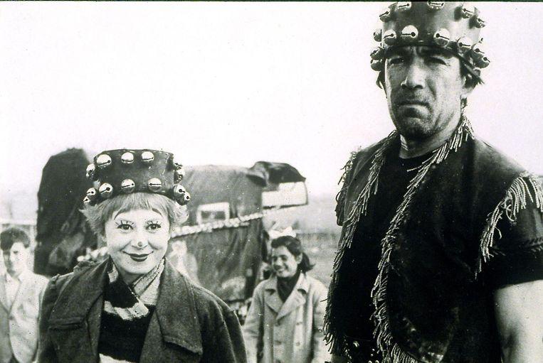 Giuletta Masina (Fellini's echtgenote) en Anthony Quinn in 'La strada '. Beeld DOCUMENTATION