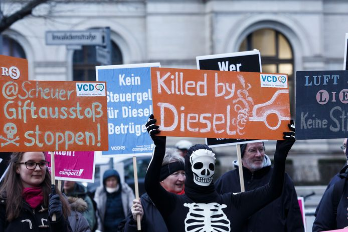 Protest tegen dieselauto's in Berlijn.