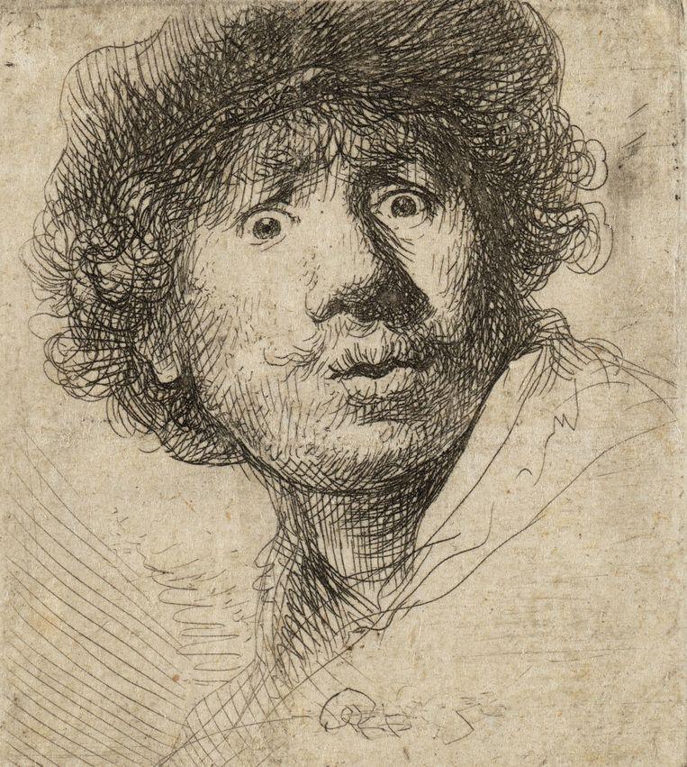 Rembrandt, Zelfportret met open mond, ets, 1630 Beeld Teylers Museum Haarlem