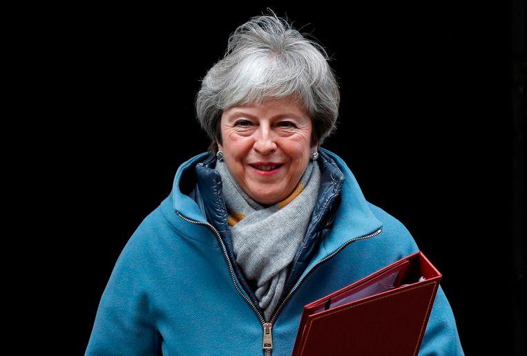 De afwijzing van het brexitakkoord was een politieke vernedering voor May. Desondanks houdt ze in grote mate vast aan haar deal. Beeld AFP