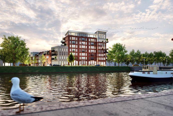 Impressie van 'Pakhuis Keersluis', het opvallende appartementencomplex dat het uithangbord van de Scheldewijk is voor bezoekers die Vlissingen in komen via de Keersluisbrug.