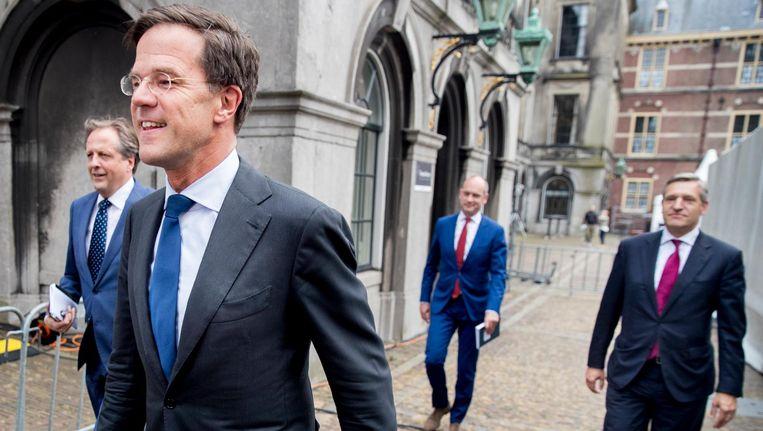 De onderhandelaars van VVD, D66, CDA en ChristenUnie Beeld ANP