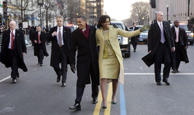 Destijds kersvers president van de VS Barack Obama en zijn vrouw Michelle na zijn inauguratie in Washington DC in 2009. Beeld EPA
