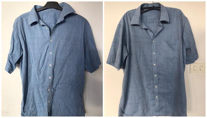 Une chemise fraîchement lavée avant et après le tour au sèche-linge avec les glaçons.