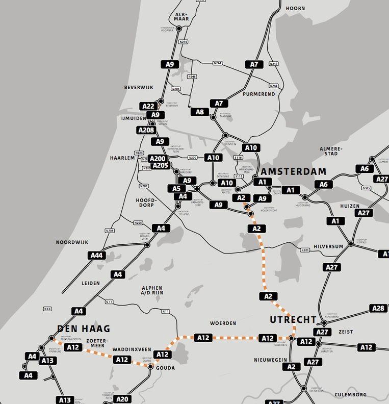 De omleiding via Utrecht tussen Amsterdam en Den Haag Beeld Rijkswaterstaat