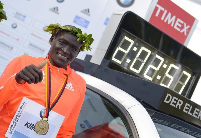 De Keniaan Dennis Kimetto na zijn winst van de marathon in Berlijn in 2014. Beeld epa