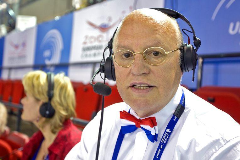 NOS commentator Hans van Zetten tijdens het EK turnen in Birmingham, 2010. Beeld United Photos