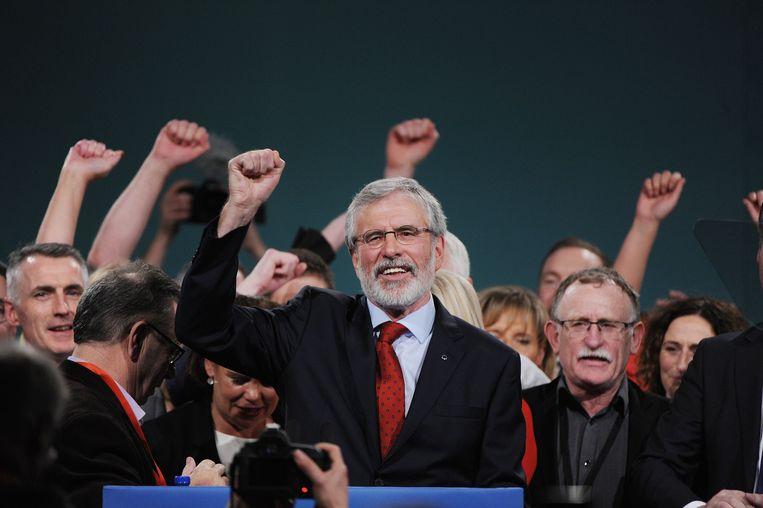Voorzitter van Sinn Féin Gerry Adams na zijn toespraak op het partijcongres op 18 november 2017. Beeld EPA