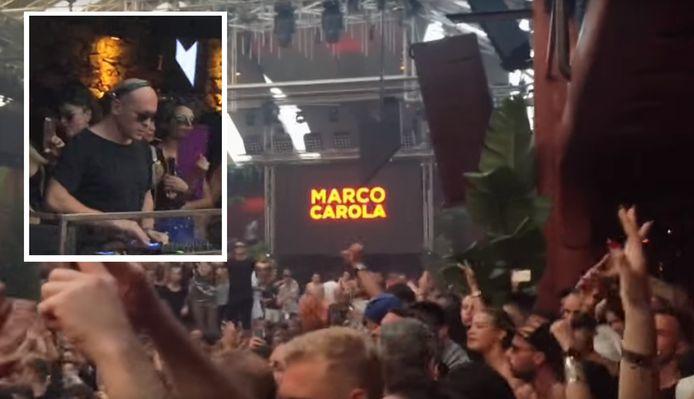 DJ Marco Carola (inzet) aan het werk op zijn eigen Music On-clubavond in de megadiscotheek Amnesia. Het feest duurt telkens sowieso tot 's ochtends vroeg. Beeld uit 2017.