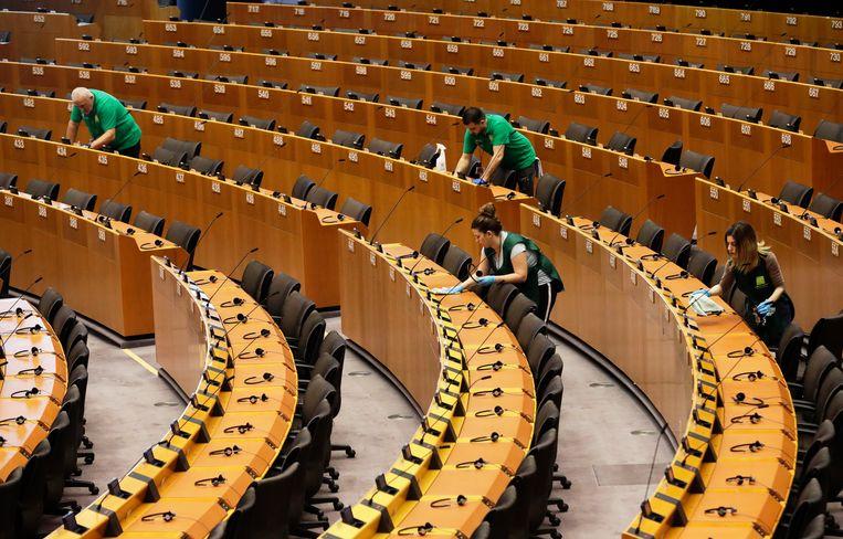 De vergadering van het Europees Parlement duurt deze week vanwege corona in plaats van vier dagen maar één dag. Beeld EPA