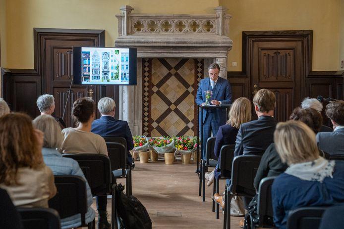 Burgemeester van Antwerpen Bart De Wever op de prijsuitreiking van Het Erfgoedjuweel in de Handelsbeurs in Antwerpen.