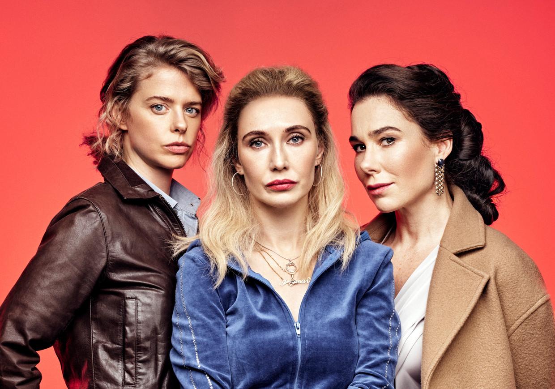 Maaike Neuville, Carice van Houten en Halina Reijn, de drie hoofdrolspeelster in de Nederlandse-Belgische tv-serie 'Red Light'. Beeld Marc De Groot