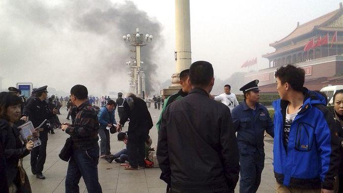 Het Plein van de Hemelse Vrede maandag, niet lang na het incident waarbij vijf mensen omkwamen en tientallen gewond raakten.