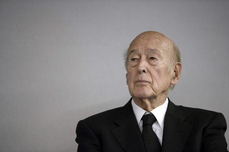 Giscard d'Estaing bij de opening van de World Nuclear Exhibition in 2014. Beeld AFP