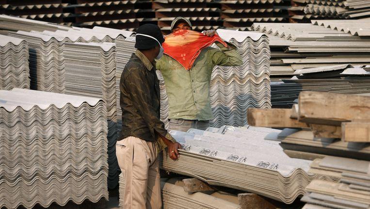 Een asbestfabriek in Bhojpur Beeld ap