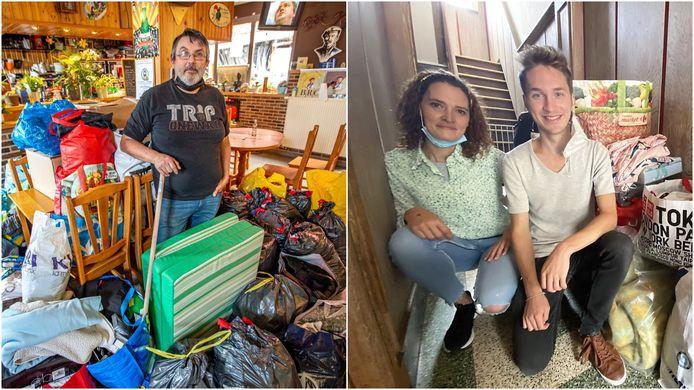 Links: Johny Vermoesen van café Dachterdeer in Affligem tussen de zakken en dozen die vrijdag al werden afgeleverd. Rechts: Aline en Jean-Philippe bij het al ingezamelde materiaal in de Engelse Wandeling 18 in Kortrijk.