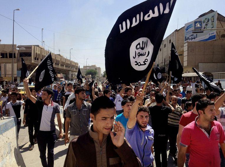 Pro-IS manifestanten in het Iraakse Mosoel.