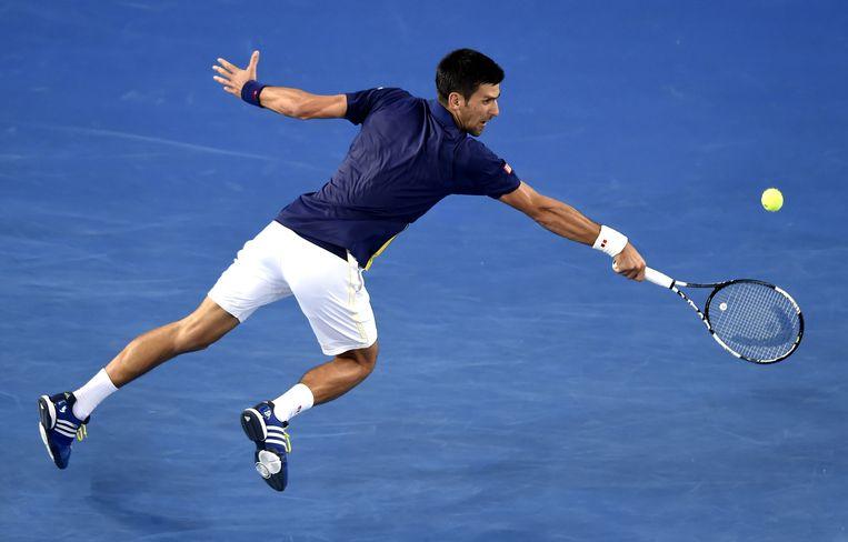 Djokovic in actie op de Australian Open. Beeld AP