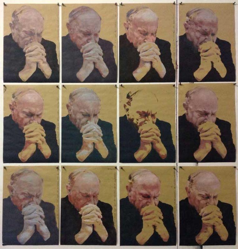 Het werk 'A Hell of a Job', met een biddende Léonard. Beeld Koen Fillet