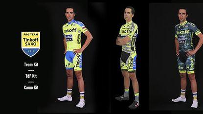 Contador jaagt in camouflageshirt op het geel
