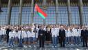 Loekasjenko bij het vertrek van de Wit-Russische atleten naar de Olympische Spelen in Tokio.