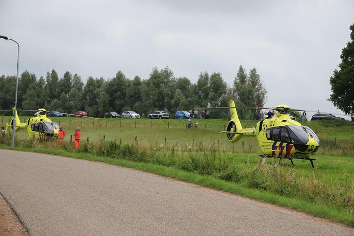 Twee traumaheli's kwamen naar Beusichem om bijstand te verlenen.