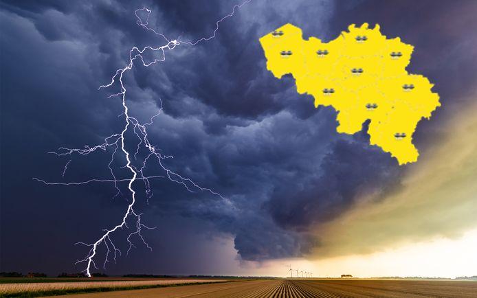 Het KMI waarschuwt in heel het land met 'code geel' voor onweer.