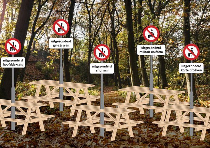 De picknicktafels die discussie op gang moeten brengen over discriminatie.