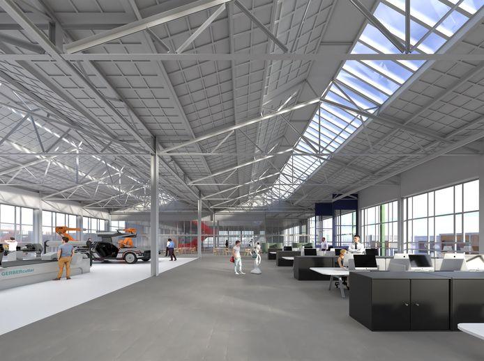 Zo gaat het interieur van het voormalige Glaslaboratorium van Philips op Strijp-R in Eindhoven er uitzien na de verbouwing. De inrichting is wel nog afhankelijk van de toekomstige huurder.