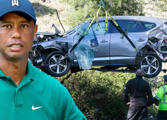 Tiger Woods en zijn zwaar beschadigde SUV.