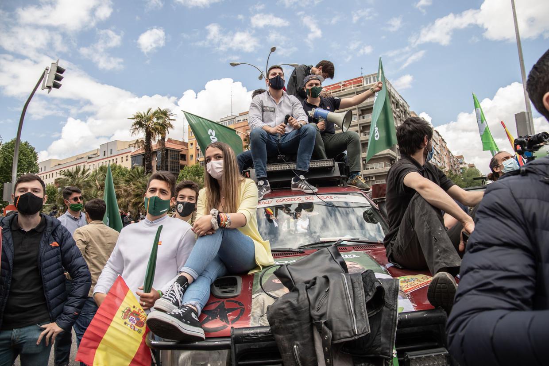 Vox presenteert zijn vakbond Solidariteit in Madrid op 1 mei, 'een historische dag'.  Beeld Cesar Dezfuli