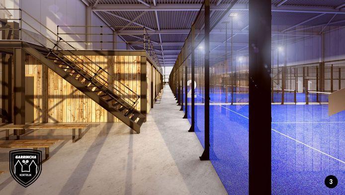 De indoor padelvelden, met linksboven ook de nieuwe indoor petanquevelden.