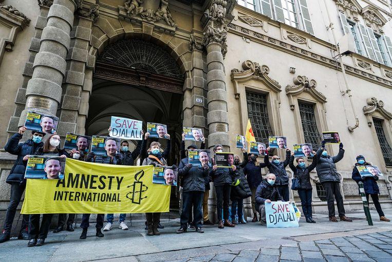 Actievoerders betoogden in december voor de vrijlating van Ahmadreza Djalali. Beeld EPA