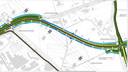 Uitsnede van de tekening van 'variant bruin'. De weg loopt vanaf de huidige spoorwegovergang richting het kruispunt Kaasgat/Trenteweg/Olzendedijk