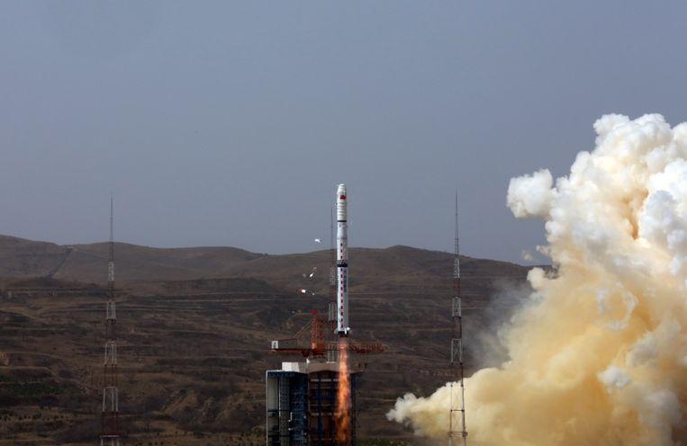 De lancering van een eerdere Chinese Lange Mars-4 raket. Beeld Xinhua