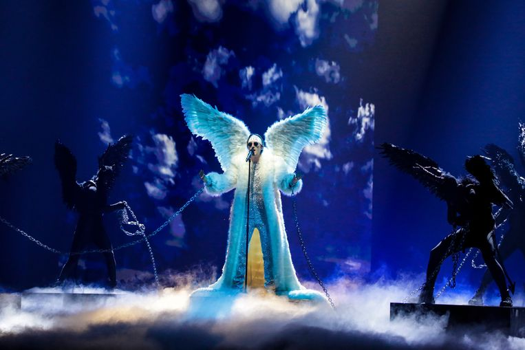 Tix uit Noorwegen zingt over een gevallen engel. Beeld Eurovision TV
