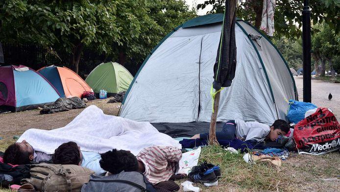 Migranten in het Griekse Athene.