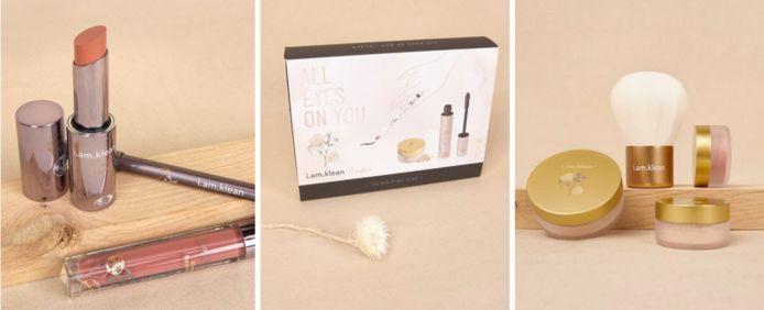 Van links naar rechts: box met producten voor de lippen, ogen en huid. Elke box kost 29,95 euro.